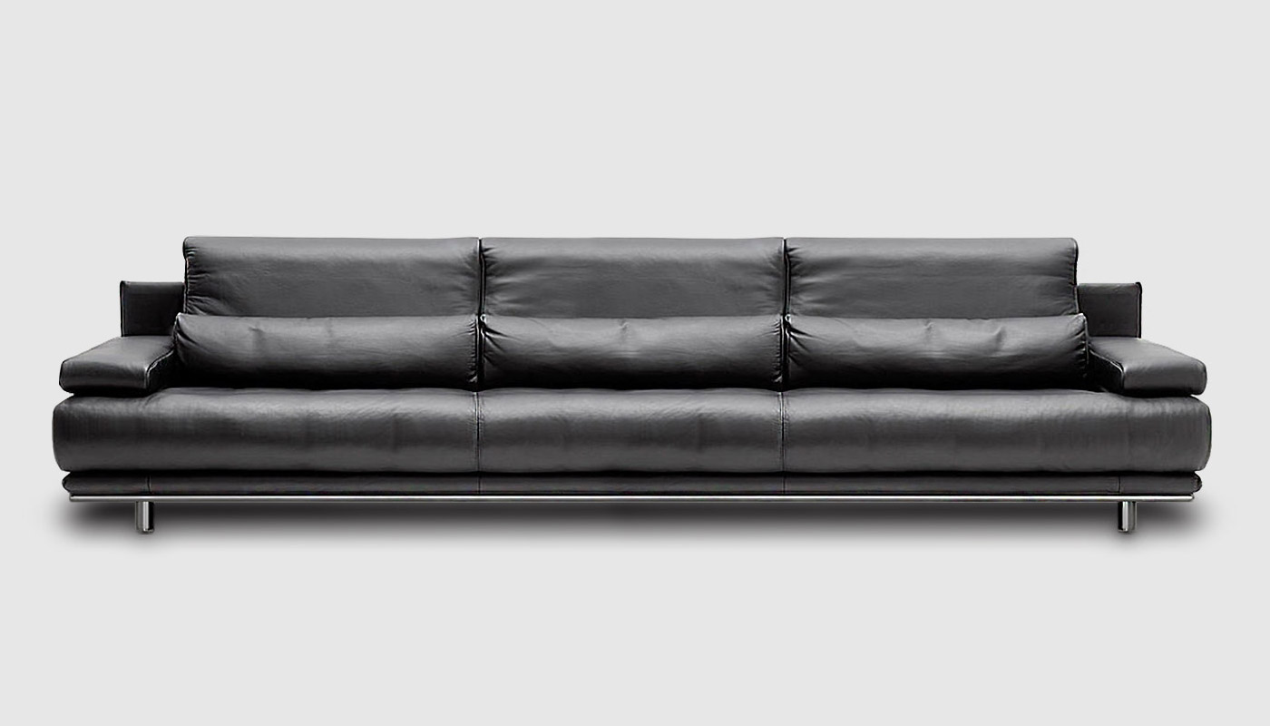 Sofa 4 seater of black leather