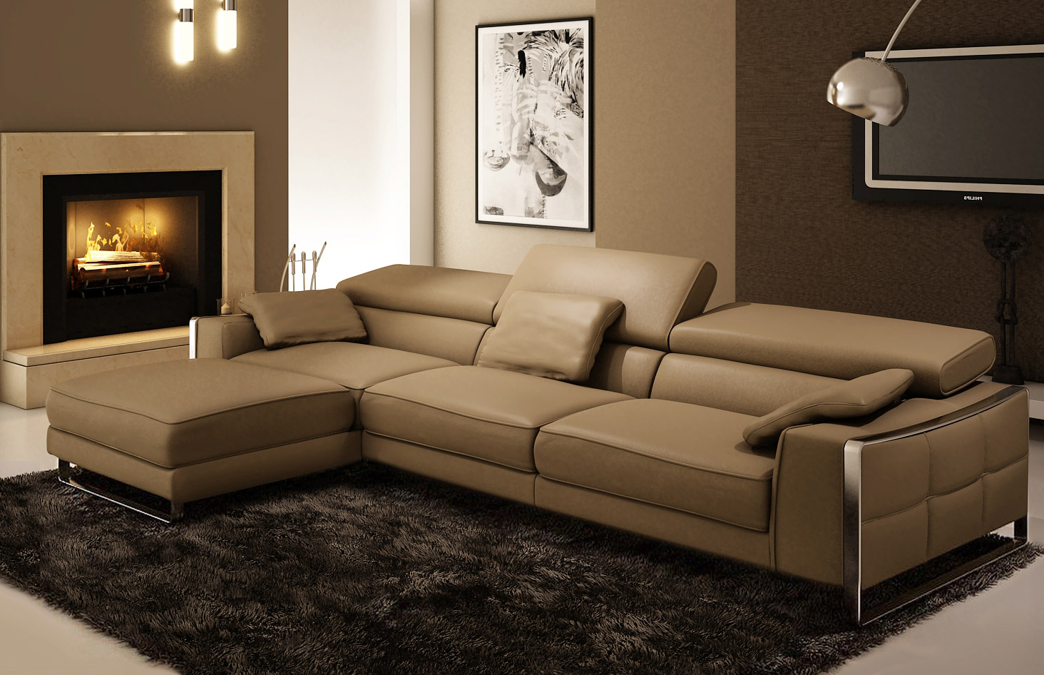 Leather sofa Ercole